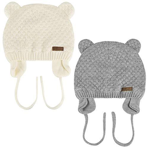 Yuson Gir Warme Baby-Häkelmütze mit süßen Bärenohren, doppellagige Strickmütze aus weicher Baumwolle, für Neugeborene, Jungen und Mädchen, Kleinkinder Gr. 0-6 Monate, 2-Grau/Weiß