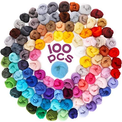 Habbi Nadelfilzwolle – 100 Farben Wolle zum Filzen von Wolle, Garn, Roving, natürliche Nadelfilz, zum Basteln