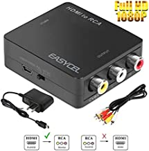 HDMI to RCA Converter, EASYCEL HDMI to Composite Converter, HDMI to AV Converter Adapter with RCA Cable and Power Adapter