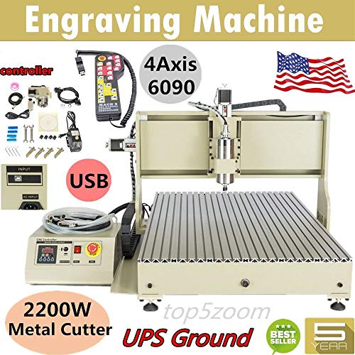 Engraving Milling Machine, USB 2200W 6090 4 Axis CNC Router Engraver Metal Engraving Power Milling Machine Free for Controller (US Stock)