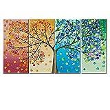 Yililay Modelo del árbol de Pintura sin Marco de 4 Conjunto Pintura de la Lona Estaciones Paisaje decoración Interior Poster de Costura hogar del Cuadro de Adornos para Sala Dormitorio 20X45cm