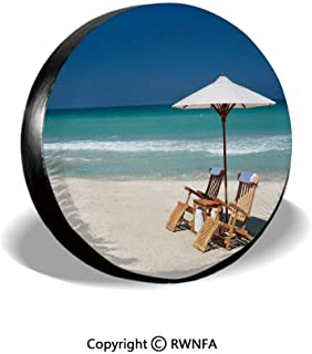 Spare Tire Cover,Two Chairs with Umbrella on a Beach in Florida,for Jeep,Trailer, RV, SUV and Many Vehicle 14