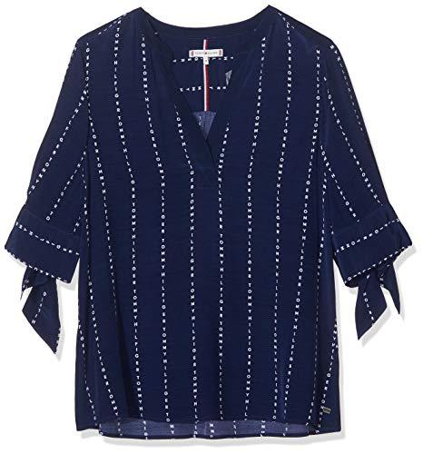 Tommy Hilfiger Damen FALLEEN Blouse 3/4 SLV Sporttop, Blau (Letter STP/Medieval Blue 495), 40(Herstellergröße:10)