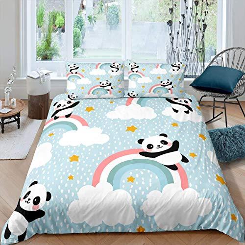 YANG Kinder-Bettwäsche-Set mit niedlichem Panda-Motiv, für Jungen, Mädchen, Jugendliche, Schlafzimmer, Dekoration, Regenbogen-Sterne, Tagesdecke, Einzelgröße mit 1 Kissenbezug
