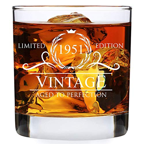 70th Birthday Gifts for Men Women - 1951 Vintage 11oz Whiskey Glass...