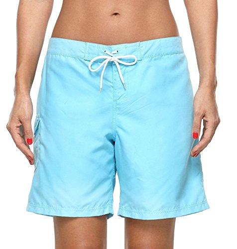 ATTRACO Damen Board-Shorts, lang, aktiv, Bauchkontrolle, hohe Taille - Blau - 3X-Large