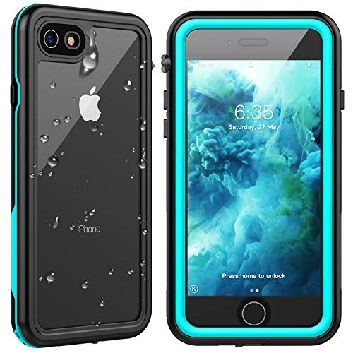 SPIDERCASE for iPhone SE 2020 Case/iPhone 8/7 Waterproof Case, Built-in Screen Protector Full Rugged Protective Case, Shockproof Dirtproof Snowproof, Case for iPhone SE 2020/8/7, 4.7 Inch(Teal+Clear)