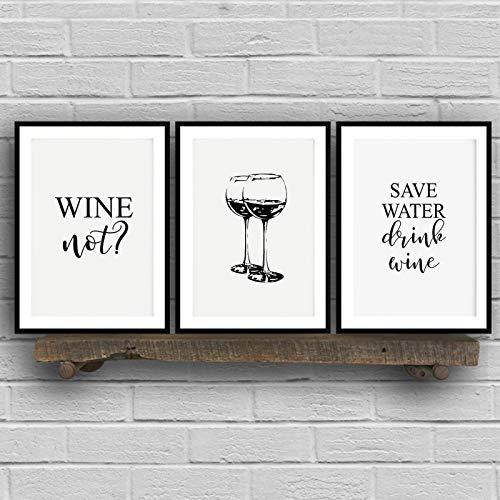 Bebida de agua Arte de la pared Vino Lienzo Pintura Carteles e impresión Negro para dormitorio Diversión Decoración de arte de cocina 13.8 'x19.7' X3 / 35x50cm Sin marco