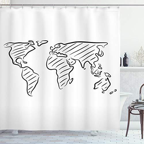 ABAKUHAUS Weltkarte Duschvorhang, Skizze Umriss Artful, Pflegeleichter Stoff mit 12 Haken Wasserdicht Farbfest Bakterie Resistent, 175 x 200 cm, Schwarz weiß