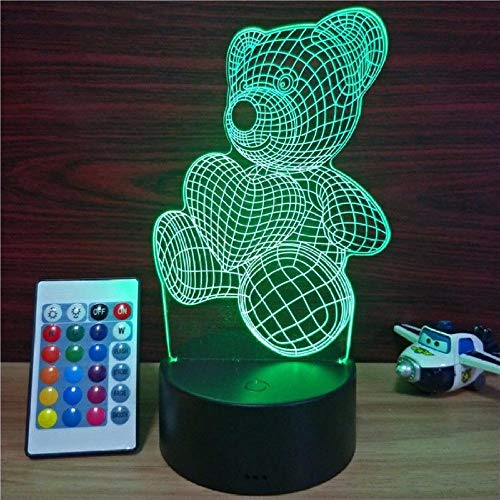 New Teddy Bear 3D Night Light Elstey LED Illusion Lamp 7 Color Touch Switch Table Desk Lamp Luce notturna for Kids Gifts