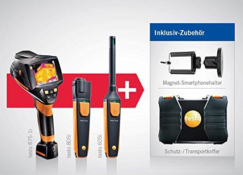 IR-Thermometer-, Hygrometer- und Wärmebildkamera-Set testo 875-1i (0563 0875 V1) + testo 605i - Infrarot-Thermometer (0560 1605) + testo 805i - Thermo-Hygrometer (0560 1805) + Kleinschmidt GmbH Magnet-Smartphonehalter
