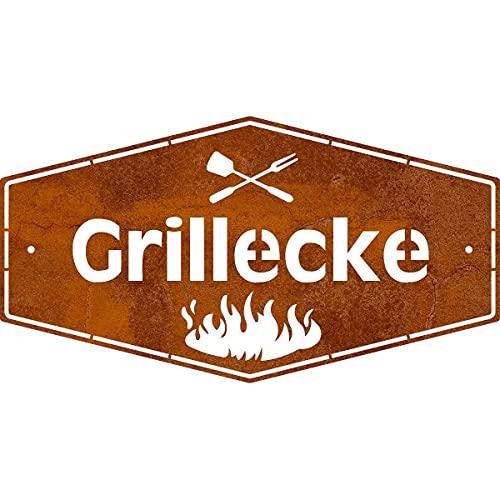 Rerum & Consilium Edelrost-Schild Grillecke M | 18 x 33 cm | BBQ Schild aus 1 mm Stahl | Grill Schild für Outdoor Küche | Made in Germany Grill Deko | Rost Schild | Perfektes Geschenk für Männer