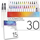 30 Watercolor Brush Pens, 15 Page Tutorial Pad and Online Video Series by Chromatek. Real Brush Tip. Vivid. Blendable. Professional Artist Quality. 27 Colors 3 Blending Water Brush Pens.