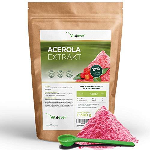 Acérola en poudre - 300 g - Vitamine C naturelle - 200 portions quotidiennes avec 1500 mg d'extrait de cerise acérola (6,6 mois d'apport) - Végétalien