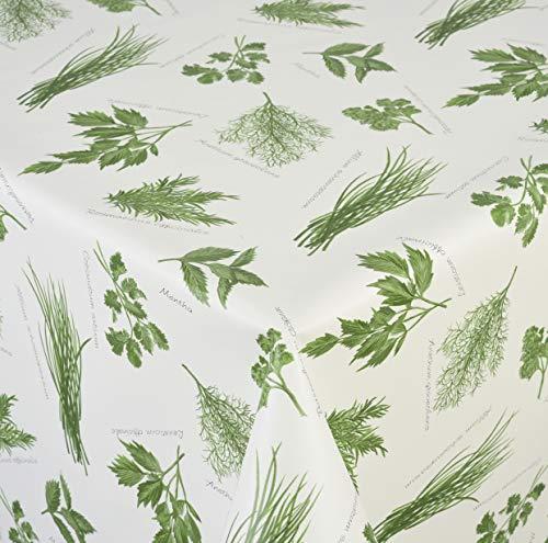 Venilia Kräuter grün Tischdecke Tischtuch Tischwäsche Wachstuch pflegeleicht wasserabweisend Rund, Pvc-Polyester, 140 x 140 cm