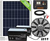 ECO-WORTHY 12 inch Solar Attic Fan + 50W Solar Panel Kit with 20A Controller + 2 Pack Battery Backup, Cools and Ventilates Your House, Bathroom, Kitchen, Garage or RV and Protects Against Moisture