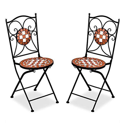 Deuba Mosaikstühle Gernika 2er Set Klappbar Sitzhöhe 45cm Metall Stabil Mosaik Balkonstühle Gartenstuhl Klappstuhl