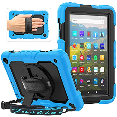 SEYMAC Shockproof Case for All-New Amazon Fire HD 8 Tablet and Fire HD 8 Plus (10th Generation, 2020 Released) with Built-in Screen Protector, 360 Rotating Hand Strap/Stand, Shoulder Strap, Light Blue