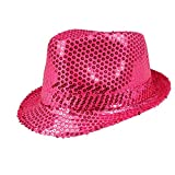 Boland 01275 - Paillettenhut pink, Disco-Outfit, Disco-Accessoire, Karneval, Themenparty, Mottoparty