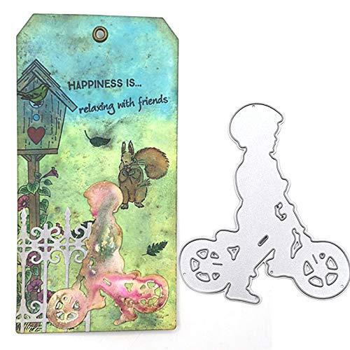 Troqueles para hacer tarjetas, diseño de bicicleta para niños y niñas y niños con diseño de troqueles, hecho a mano, para manualidades