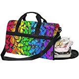 Dallonan - Bolsa de Deporte para Hombre, diseño de Mariposas y arcoíris, con Compartimento para Zapatos