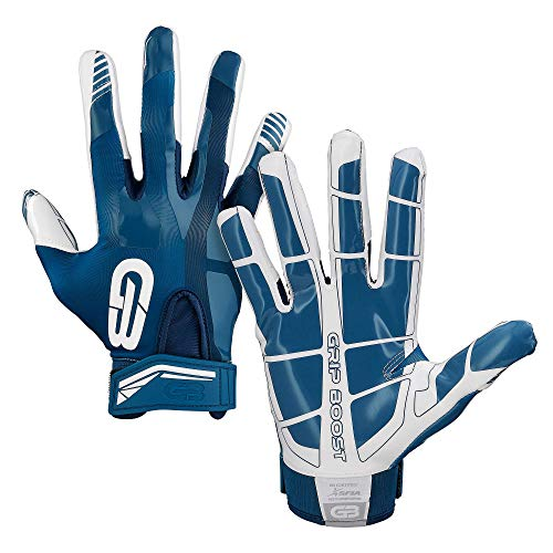 Grip Boost Stealth Football Gloves Pro Elite (Black, Small) (Navy Blue/White, Youth Medium)