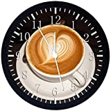 Black Frame Coffee Art Kitchen Wall Clock 12' Silent Non-Ticking Will Be Nice Gift and Home Office Home Decor W250