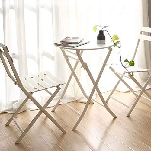 N//A Metal plegable Mesa y silla de tres piezas Muebles de jardín al aire libre Bistro Set Terraza Muebles Mesa redonda Blanco