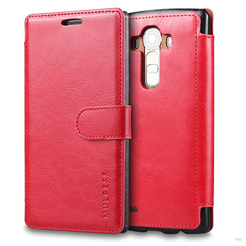 Mulbess Handyhülle für LG G4 Hülle Leder, LG G4 Handy Hüllen, Layered Flip Handytasche Schutzhülle für LG G4 Hülle, Wein Rot