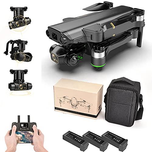 Lailuaxoa Drone GPS Plegable con Cámara 8k para Principiantes, Mini Drone Profesional HD Mecánico De 3 Ejes Gimbal Cámara Dual 5G WiFi Fotografía Aérea RC Quadcopters,Battery X 2