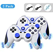 A-SZCXTOP 1 Pair Wireless Bluetooth Game Controller Rechargeable Gamepad with USB Charging Cable for PS3 Playstation 3 (Blue+White)