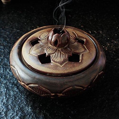 Brucia incenso tibetano a forma di fiore di loto, Xiduobao, in lega di metallo, brucia incenso di Buddha, porta candela, porta incenso, ornamento buddista, decorazione domestica