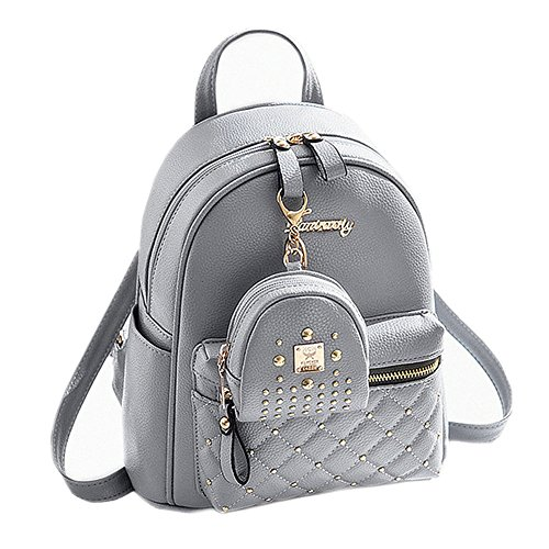 Cute Small Backpack Mini Purse Casual Daypacks Leather for Teen Girls and Women (Gray)