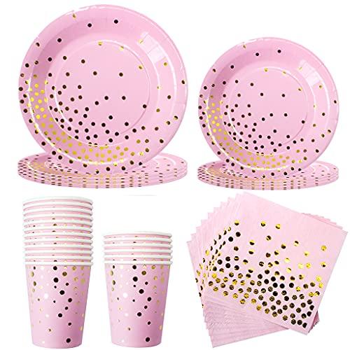 Amycute 40 TLG Sommerparty Party-Set Gold Dots, Papier Teller, Servietten, Pappbecher - Ideal für Cocktail Deko, Geburtstagsfeier und Hochzeit . (Rosa)