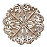 Yuer - decalque de escultura de madera esculpida vintage redonda, aplique decorativo para armario, gabinete, casa, muebles, decoración #3, 2 unidades