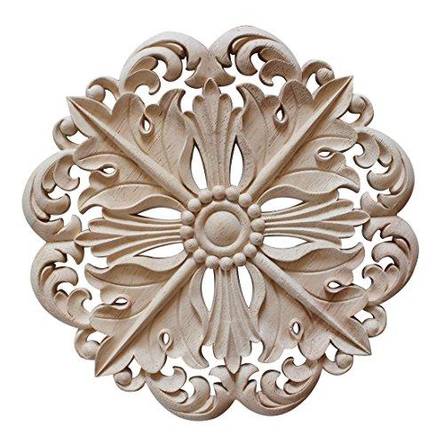 Pinji Madera Tallada Redonda Applique Decorativo de Estilo Europeo #3