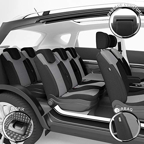 DBS - Housses de siège sur Mesure pour Touran (09/2015 à 2021) | Housse Voiture/Auto d'intérieur | Haut de Gamme | Jeu Complet en Tissu | Montage Rapide