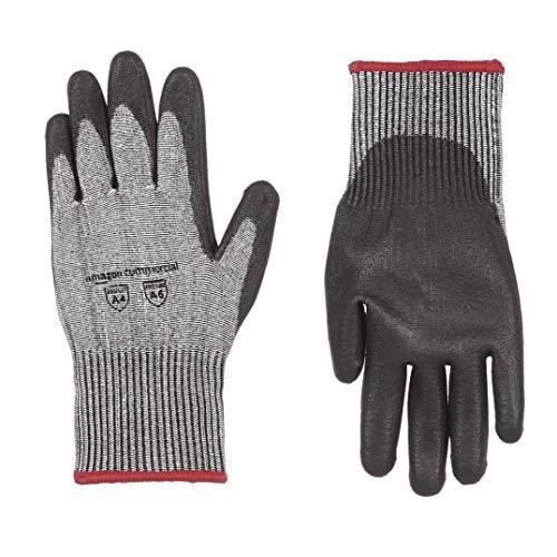 AmazonCommercial 13G HPPE Cut Resistant Liner & Polyurethane Coated Gloves (Salt & Pepper/Black), Size S, 3 Pairs