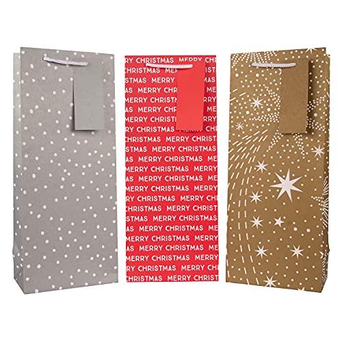 Hallmark - Bolsa para botellas de Navidad (3 bolsas en 3 diseños festivos contemporáneos