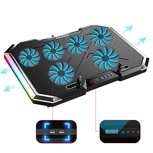 """Laptop Cooling Stand 6 Fans,Gaming Cooler Pad,12""""-18"""" Ultra Slim Notebook Radiator 2 USB 6 Speed Touch Control Quiet, RGB Led Light, 7 Height Adjustment, Efficient Cooling"""