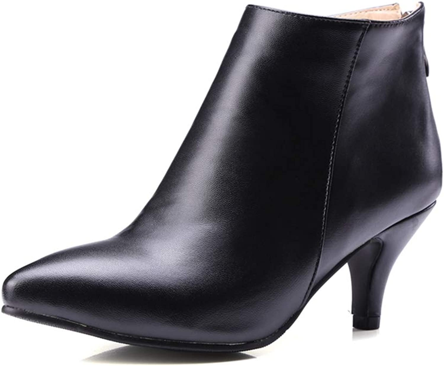 GIY Women's Sexy Pointed Toe Dress Ankle Boots Stiletto High Heel Leather Zipper Comfort Short Booties