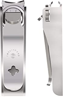 GLAMFIELDS Nail Clipper Set with Catcher and File, Stainless Steel Nail Cutter Fingernail Toenail Clippers Nail Trimmer Set for Men and Women, Packed with Leather Case, Silver