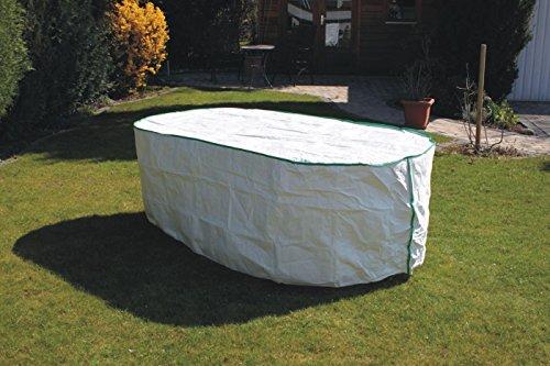 Housse table de jardin ovale Exclusive en Tyvek blanc avec roulement Sacs pour table cloche Bâche 300 x 110 x 75