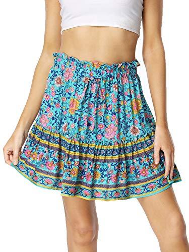Wudodo Falda Mujer Mini Bohemio Corto Florales Básica Multifuncional Casual Chic de Noche Playa Vacaciones