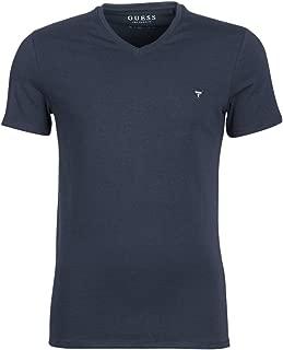 Guess V-neck logo T-Shirts For Men - Blue, L