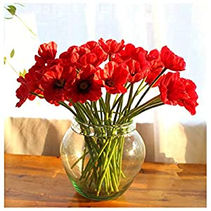 20 PCS High Quaulity Fresh Artificial Mini Real Touch PU/ latex Corn Poppies Decorative Silk fake artificial poppy flowers for Wedding holiday Bridal Bouquet Home Party Decor bridesmaid (Red – 20Pcs)