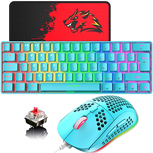 Teclado y ratón para juegos con cable de 60% con diseño del Reino Unido, 62 teclas, mini teclado mecánico compacto, retroiluminadas con arco iris, 6RGB retroiluminado 6400 DPI(interruptor azul/rojo)