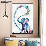 PLjVU Cuadro Mural Pintura sobre Lienzo Cartel de Arte Animal Abstracto Aerosol de Agua bebé Elefante impresión Sala de Estar decoración del hogar-Sin marco40X55