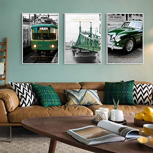 VVSUN Nordic Vintage Green Train Bridge Canvas Painting Style Posters Car Prints Wall Art Pictures Sala de Estar Decoración para el hogar 40X60cm 16x24inchx3 Sin Marco
