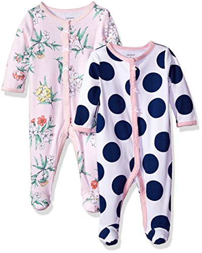 Carter's Baby Girls' 2-Pack Cotton Sleep and Play, Blue dot/Pink Floral, 9 Months